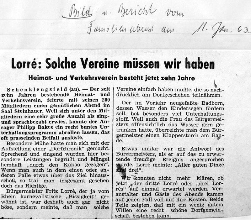 10 Jahre Heimatverein - Bericht vom Familienabend am 12. Januar 1963