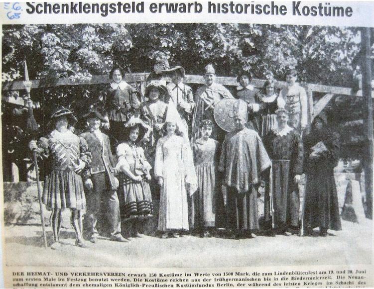 Anschaffung historischer Kostüme im Jahre 1965