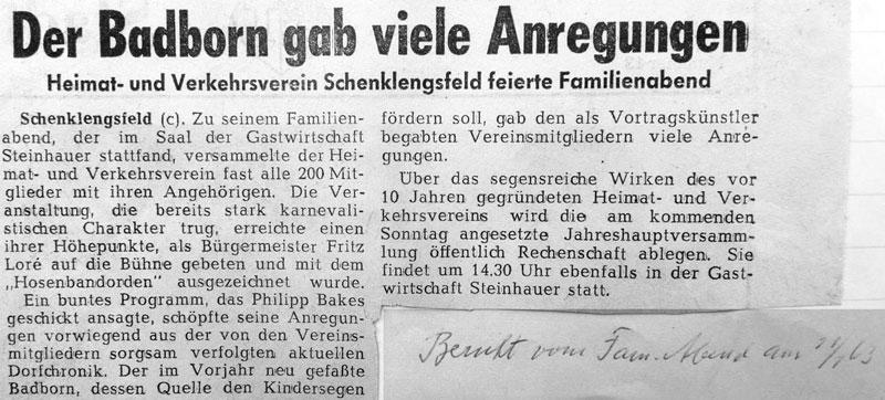 Badborn gab viele Anregungen - Bericht vom Familienabend 1963