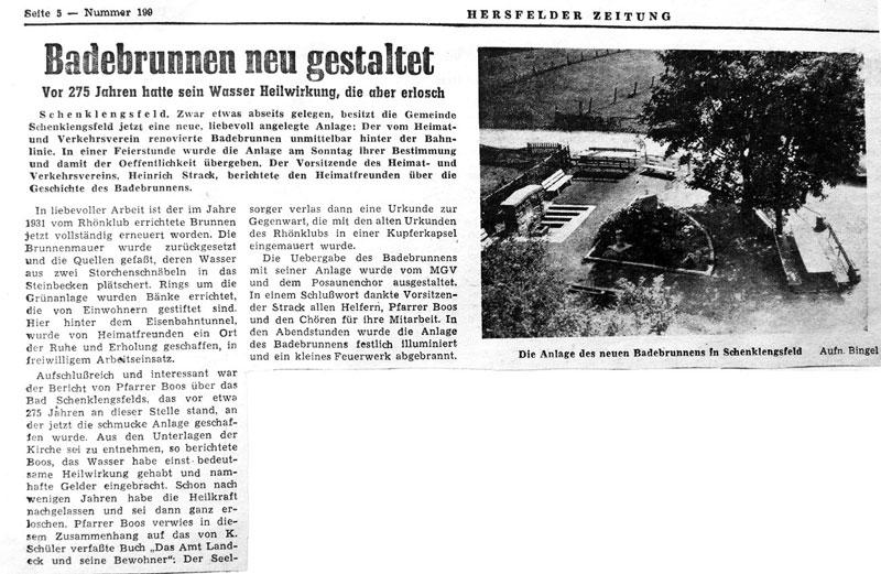 Einweihung des Badebrunnens am 26. August 1962