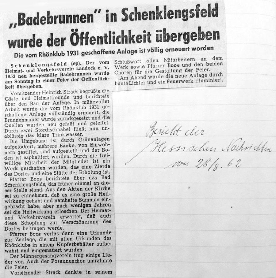 Übergabe des Badebrunnens an die Öffentlichkeit am 28. August 1962