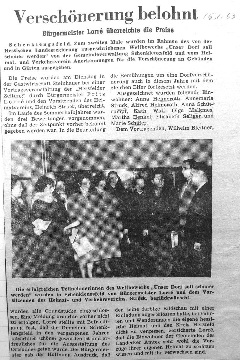 Unser Dorf soll schöner werden - Die Belohnung - Hersfelder Zeitung vom 16.01.1963