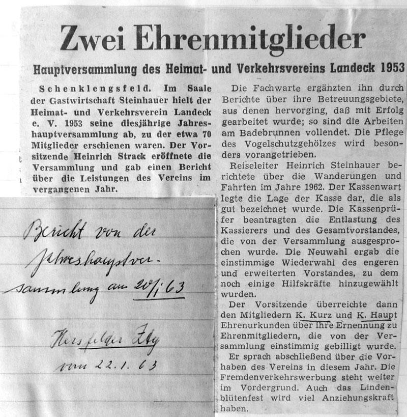 Weitere Ehrenmitglieder - Hersfelder Zeitung vom 22. Januar 1963