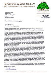 Brief an die Gemeinde Schenklengsfeld vom 26.06.1997