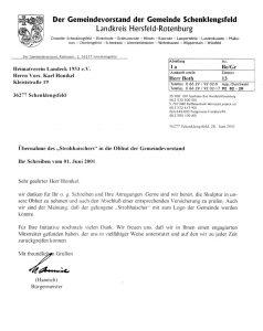 Brief der Gemeinde an den Heimatverein vom 28.06.1997