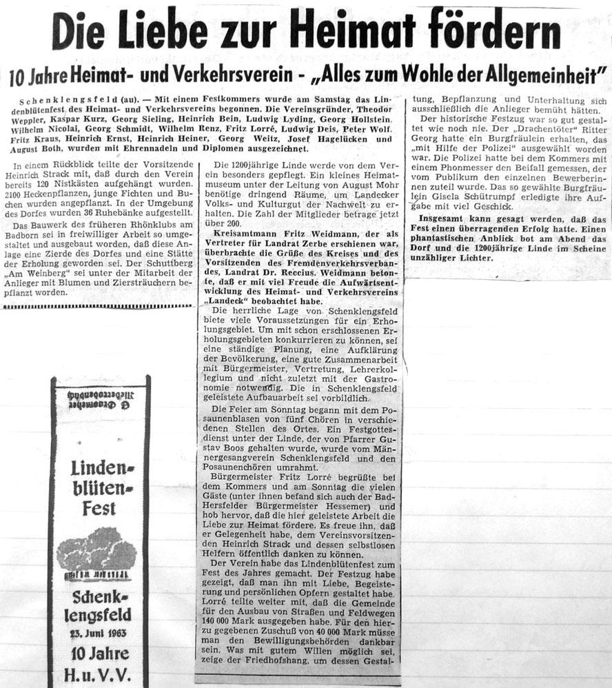 Lindenblütenfest - Der Festkommers - Volkszeitung vom 26. Juni 1963