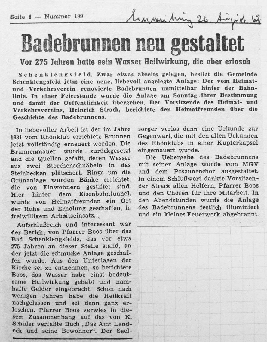 Heimatzeitung August 1962
