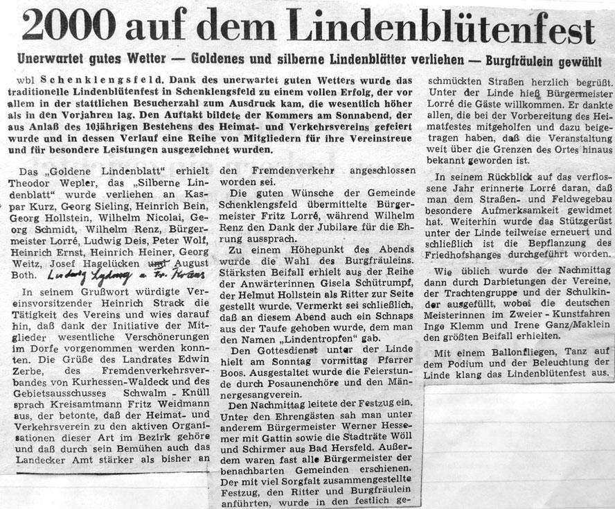 Lindenblütenfest 1963 - Bericht der Hersfelder Zeitung