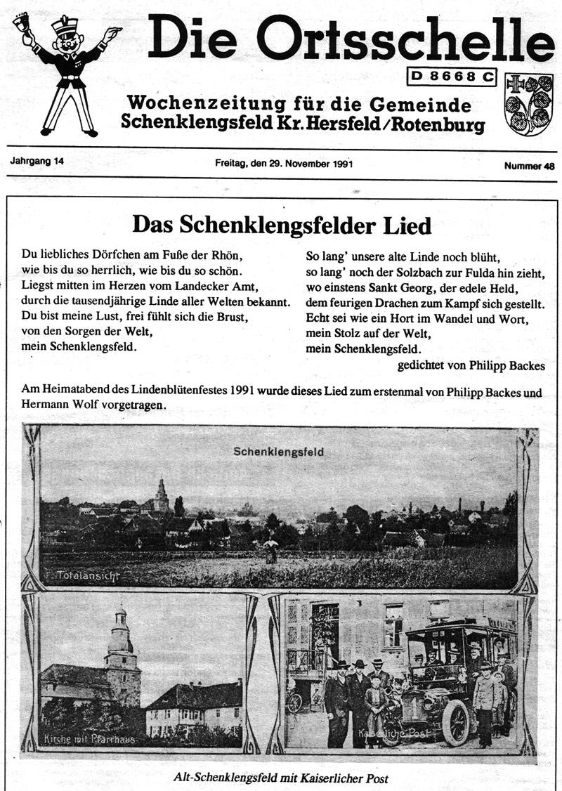 Das Schenklengsfeld-Lied von P. Backes