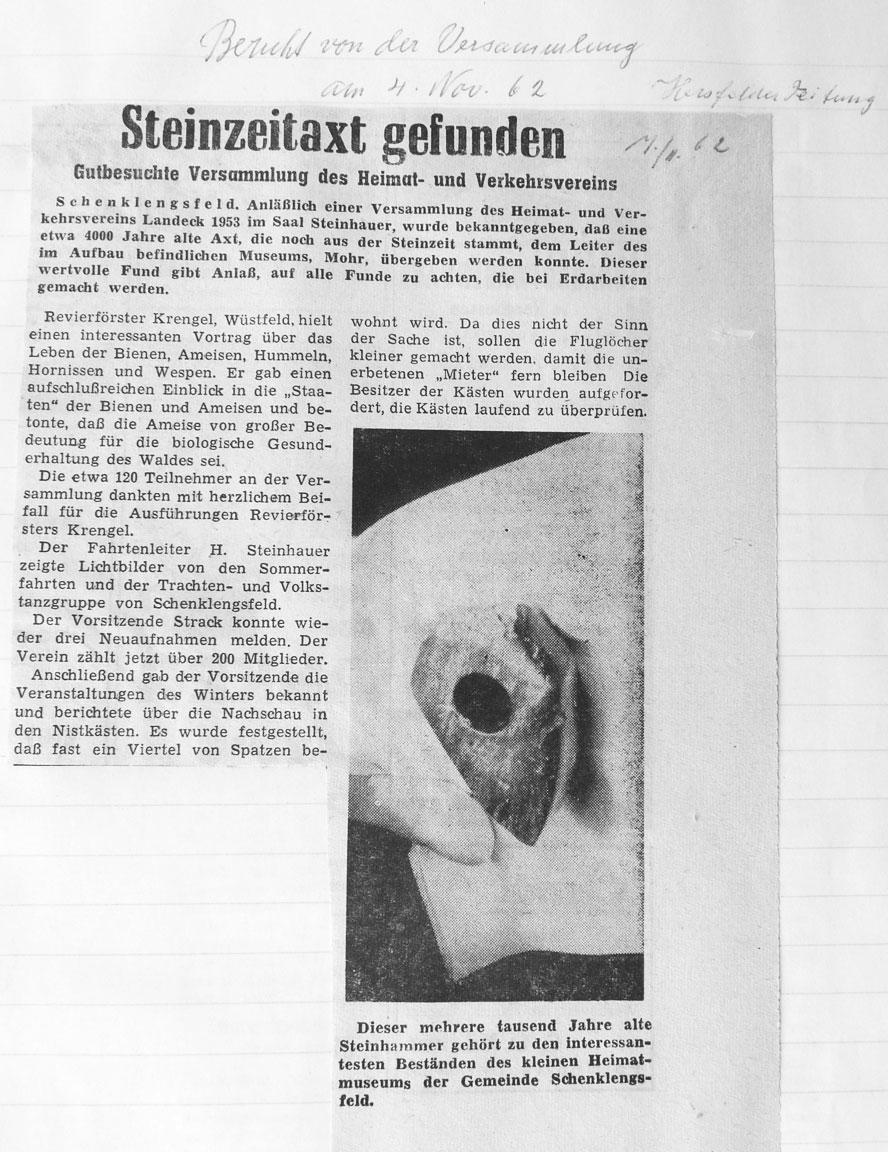 Steinzeitaxt gefunden - Hersfelder Zeitung vom 7. November 1962