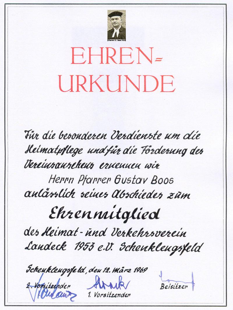 12. März 1969 - Ehrenurkunde für Pfarrer Gustav Boos